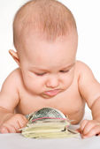 Child and money — Stock Photo