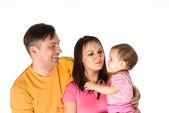 хорошая семья на белом — Стоковое фото