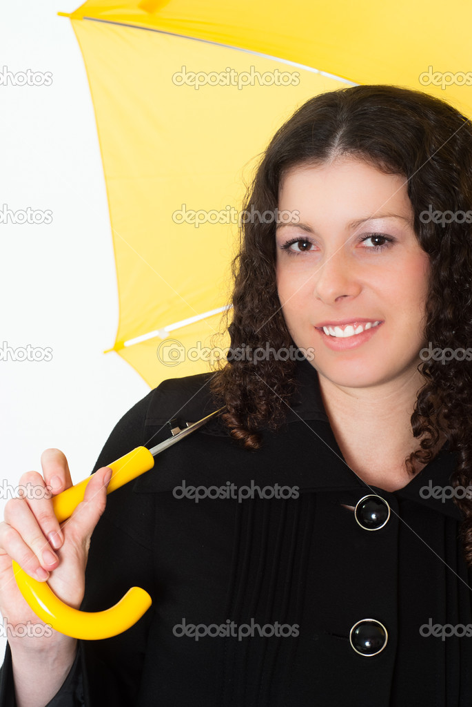 Portrait of a woman with an umbrella on a white background — Stock Photo #5762348