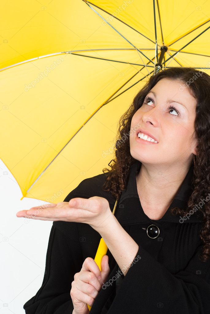 Portrait of a woman with an umbrella on a white background — Stock Photo #5762357