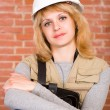 Beautiful  builder with helmet - Stockfoto