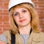 Beautiful builder with helmet — Stock Photo