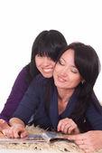 Two girls reading — Stock Photo