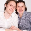 Young couple at the table — Stock Photo
