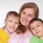 Grandmom and grandsons — Stock Photo
