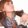 Girl with cash - Stock Photo