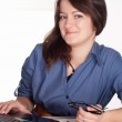 Lady works with laptop — Stock Photo
