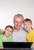Granddad and grandsons — Stock Photo