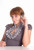 Pretty worker with microphone — Stock Photo