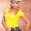 Beautiful girl in helmet — Stock Photo