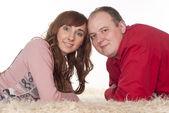 Linda pareja en alfombra — Foto de Stock