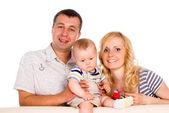 Happy family of a three — Stock Photo