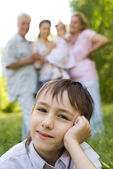 Boy with family — Stock Photo