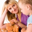 mom and son playing — Stock Photo