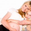 Mom with son on sofa — Stock Photo #6026530