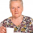 Granny at table — Stock Photo