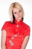 Piękna dziewczyna w czerwonym — Zdjęcie stockowe
