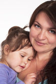 Cute mom and daughter portrait — Stock Photo
