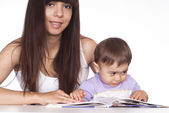 Mom and son read — Stock Photo