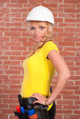 Beautiful girl in helmet — Stock Photo