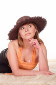 Cute woman in hat — Stock Photo