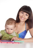 Mom with her son play — Stock Photo