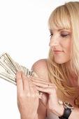 Dívka a peníze — Stock fotografie