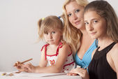 Cute family draws — Stockfoto