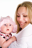 Pretty mom with baby — Stock Photo