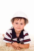 Młody chłopak w kasku — Zdjęcie stockowe