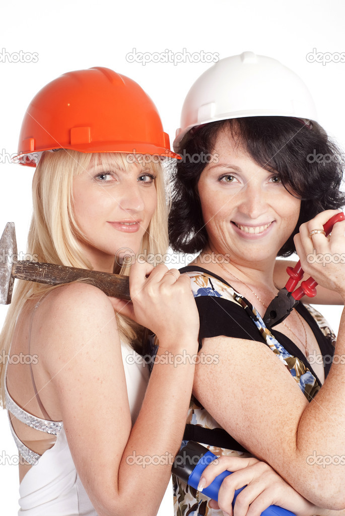 Portrait of a girls with helmets on white — Stock Photo #6027079