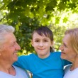 Boy with grandparents — Stock Photo