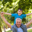 Grandson with his grandfather — Stock Photo #6153837