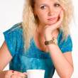 Pretty woman with cup — Stock Photo