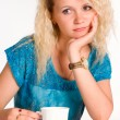 Pretty woman with cup - Stock Photo