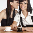 Two girls with cups — Stock Photo