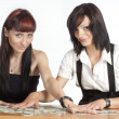 Girls and money — Stock Photo