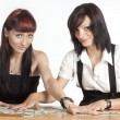 Stock Photo: Girls and money