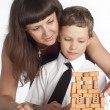Mom and son constructing — Stock Photo