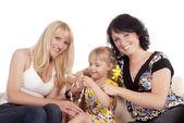 Rodina na pohovce — Stock fotografie
