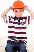 Niño con casco — Foto de Stock