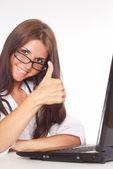 Nurse with laptop — Stock Photo
