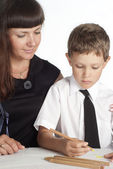 Mom and son drawing — Stock Photo