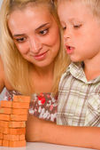 Mom play with son — Stock Photo
