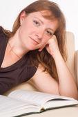 Nice woman reading — Stock Photo