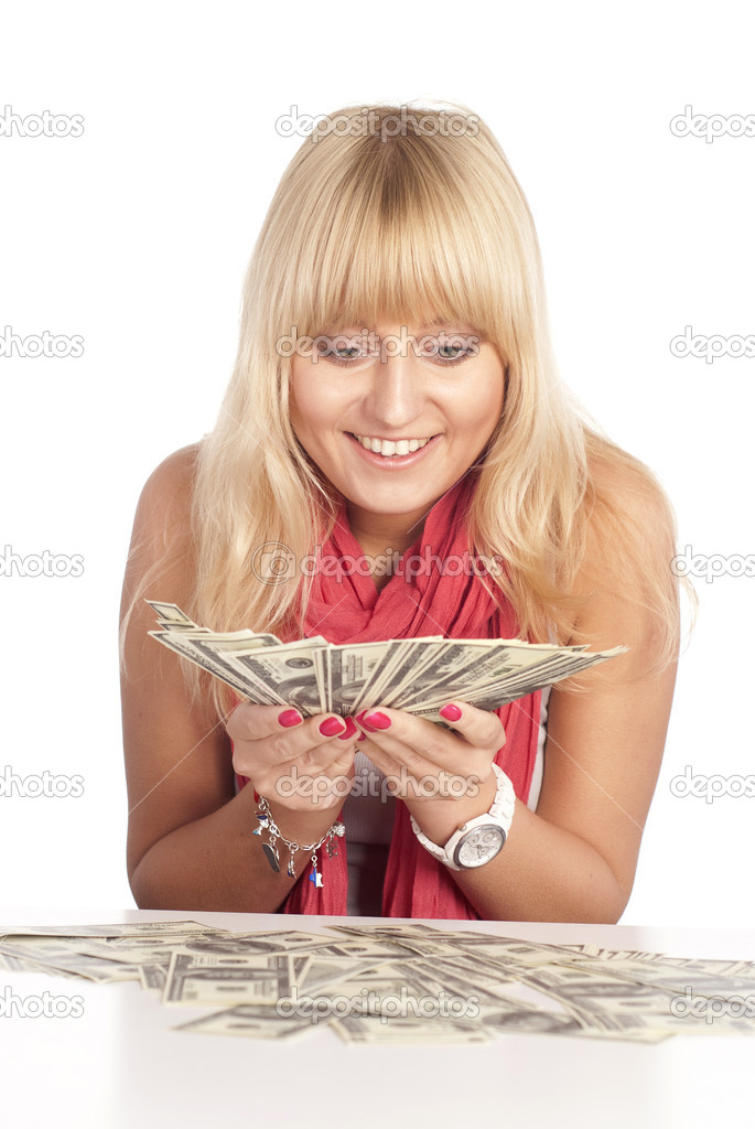 Very happy blonde with a lot of cash — Stock Photo #6153996