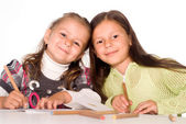 Girls draw at table — Stock Photo