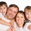Happy family on a white - Stock Photo