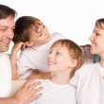 Happy family on a white — Stock Photo