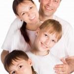 Pretty family on white — Stock Photo